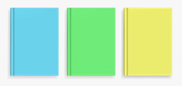 空白のカラフルな現実的な本の表紙。