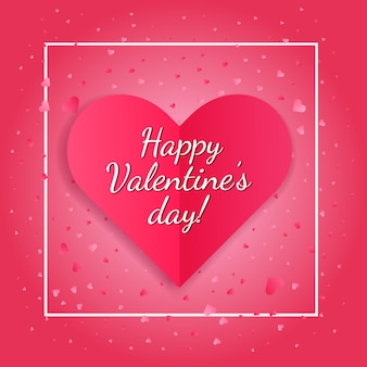 Яркая валентинка с розовым бумажным сердечком
