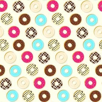 カラフルなおいしいトッピングドーナツのシームレスパターン