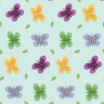 蝶と葉とのシームレスなパターン