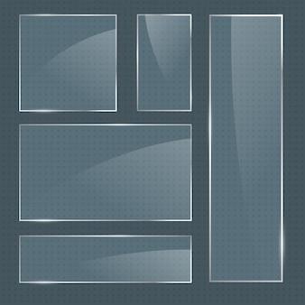 ベクトルの現実的な光沢のある正方形のガラスフレームのセット