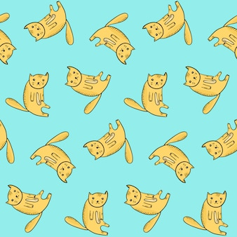 かわいい座っているアウトラインオレンジ猫と子供のパターン