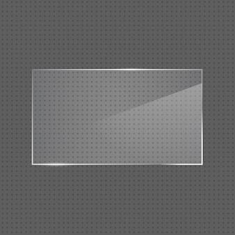 Векторная реалистичная глянцевая прямоугольная стеклянная рамка