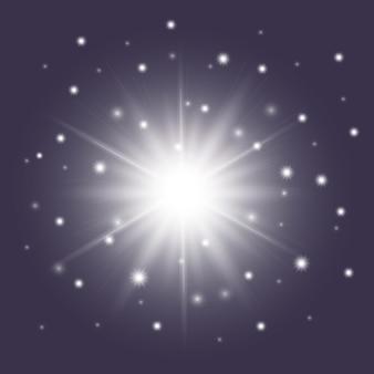Глянцевая белая звезда с блестками