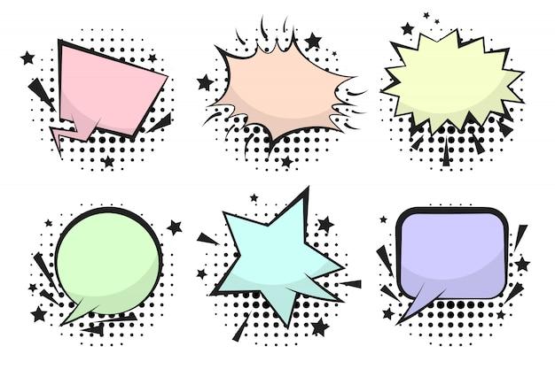 Набор смешных старинных комических речевых пузырей