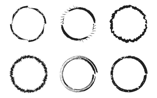 黒グランジ円、ラウンドフレームのセット