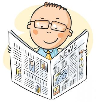 新聞を読んでメガネの男