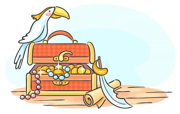 Сундук с сокровищами и попугай