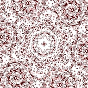 正方形の手描きの花柄、モノクロの背景