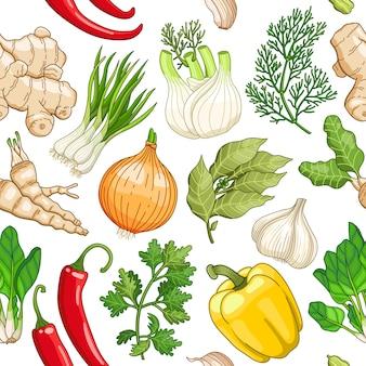 白のハーブと野菜のパターン