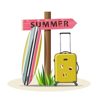 夏休み旅行のベクトル図