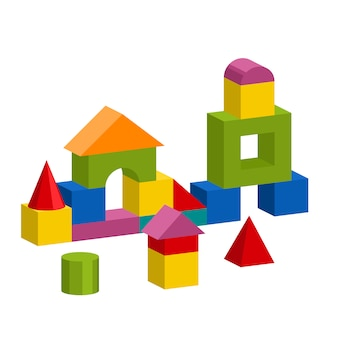 カラフルなブロックのおもちゃの建物タワー、城、家