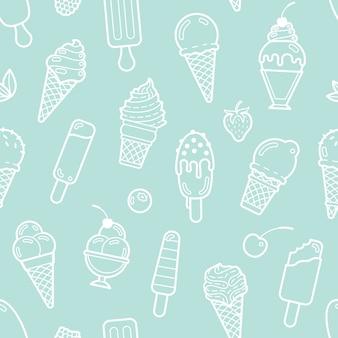 Милая мята бесшовные модели с мороженым