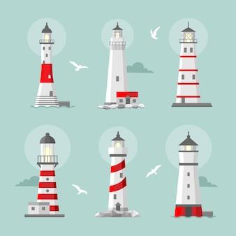 Набор мультяшных плоских маяков