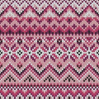 Бесшовный сиреневый орнамент на вязаной текстуре