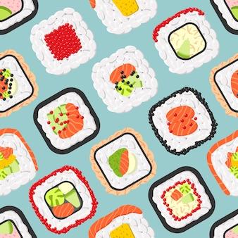 かわいい色の寿司ロールのシームレスパターン