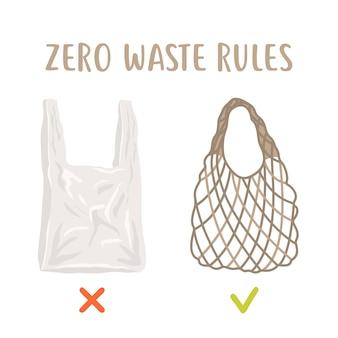 廃棄物ゼロのルール。使い捨てパッケージと再利用可能なメッシュバッグ