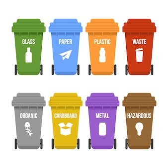 ホイール上の多色のごみ箱を別々のゴミ収集用に