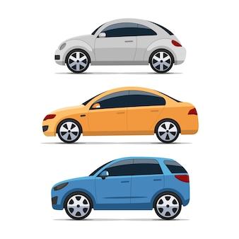 フラットなデザインの車の側面図セット