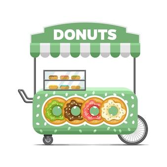 Уличная продовольственная тележка доната. красочное векторное изображение