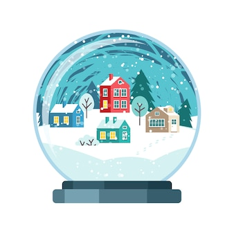小さな家とクリスマスベクトル雪の世界