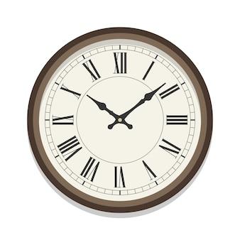 Ретро значок римские часы, одна изолированная векторная иллюстрация