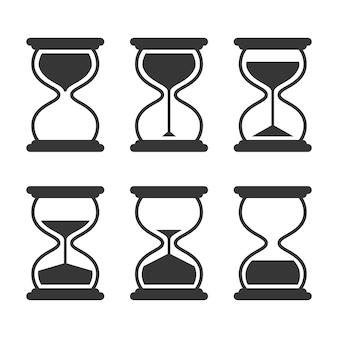 Установленные значки вектора песочных часов ретро изолированные на белизне