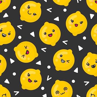 Симпатичные улыбающиеся лимонные фрукты, бесшовные узор на темном