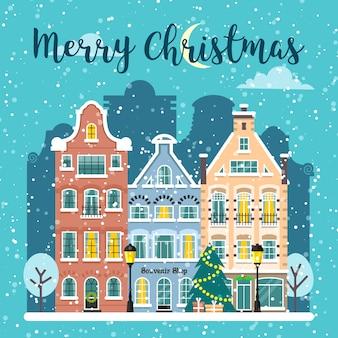 Зимний рождественский городской уличный векторный пейзаж