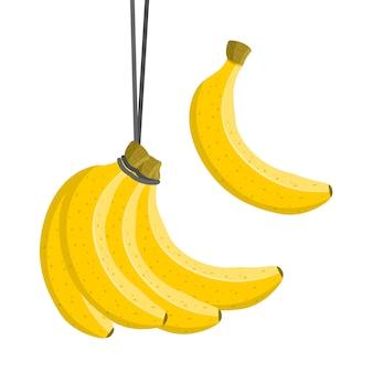 Банановая гроздь. сладкие свежие фрукты. красочный