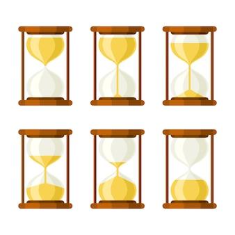 Установить песочные часы ретро векторные иконки