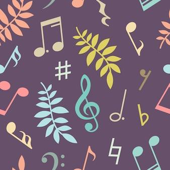 Бесшовный фон из музыкальных нот и листьев