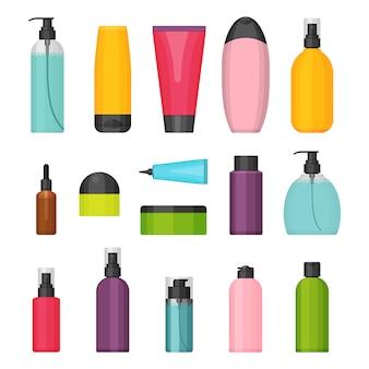 平らなカラフルな化粧品ボトルのセット