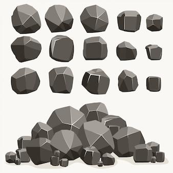 フラットスタイルの岩石漫画。異なる岩のセット