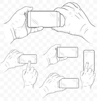 Мобильный телефон в руках вид спереди. эскиз рука пустой смартфон.
