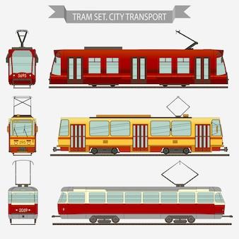 Трамвай векторный городской транспорт