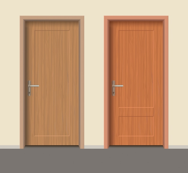 Комплект деревянных дверей, интерьер квартиры закрытая дверь с железными петлями