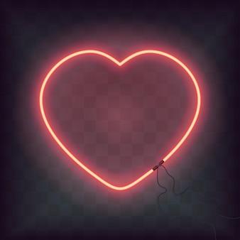 ネオンの心は透明な背景にサインオンします。幸せなバレンタインデーのレトロな明るい心