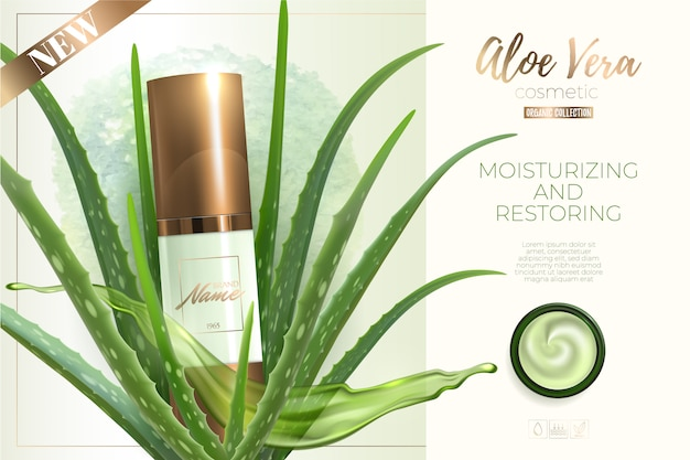 化粧品の広告デザイン。アロエベラエキス入りの保湿クリーム、ジェル、ボディローション。