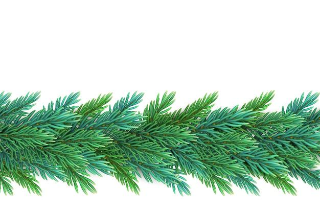 はがきを作成するための松の木の枝で作られた、現実的で詳細な新年の花輪
