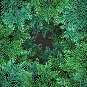グリーティングカードの緑の現実的なクリスマスツリーの枝と背景