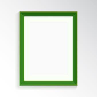 Реалистичная зеленая рамка для фотографии или рисования.