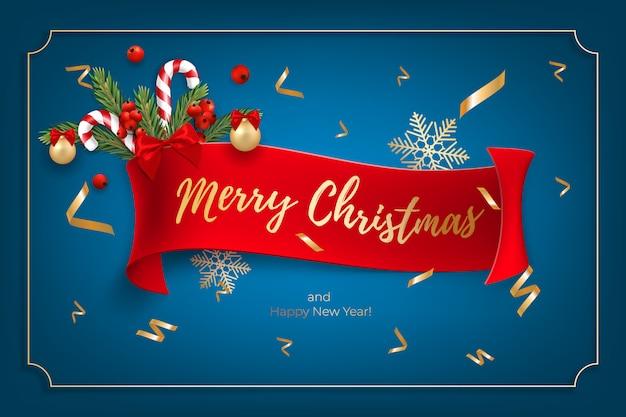 現実的なクリスマスボール、キャンディー、赤い果実とメリークリスマスと幸せな新年のグリーティングカードの休日の背景