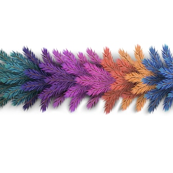 リアルで詳細な新年の花輪は、カラフルな松の木の枝を作り、ポストカード、サイトのバナーを作成しました。現実的なクリスマス装飾要素。