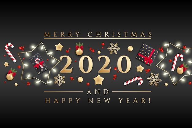 メリークリスマスと幸せな新年のグリーティングカードクリスマスライト