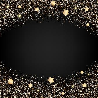 星とゴールドラメの背景
