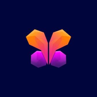 バタフライ六角形のロゴデザイン