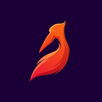 ペリカン鳥のロゴ