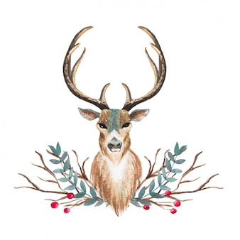 Дизайн акварели олень