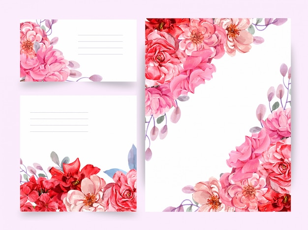 水彩、ウェディングカード、グリーティングカード、セットの花